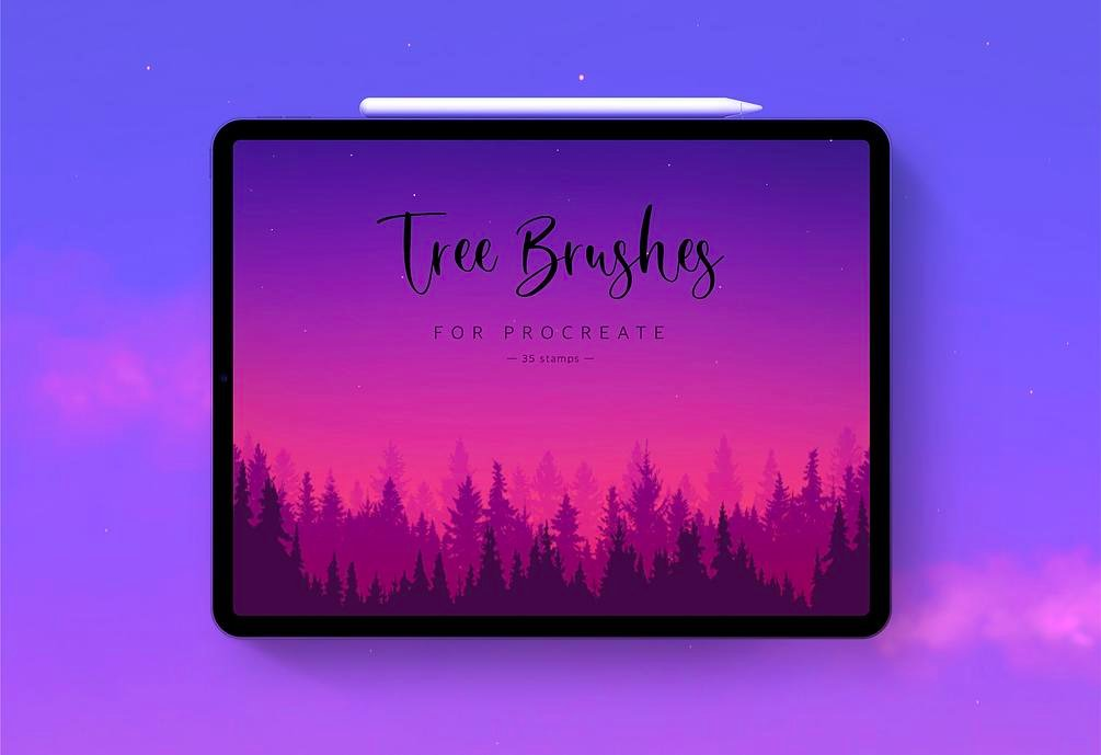 35 tree stamps for Procreate