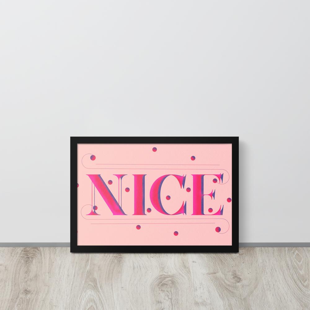 NICE Framed Poster image mockup