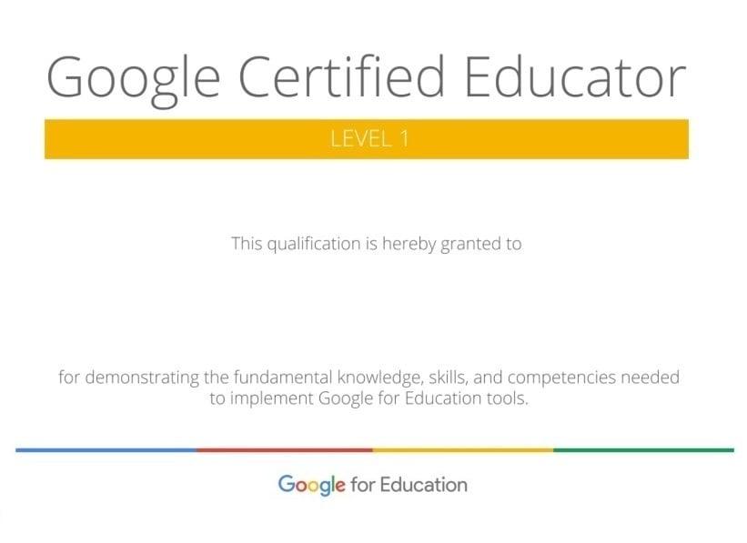 Google Certified Educator Level 1 certification diploma