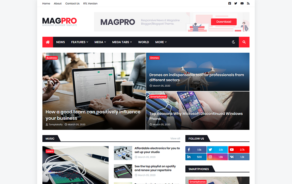 MagPro - Magazine Blogger Blogger Template