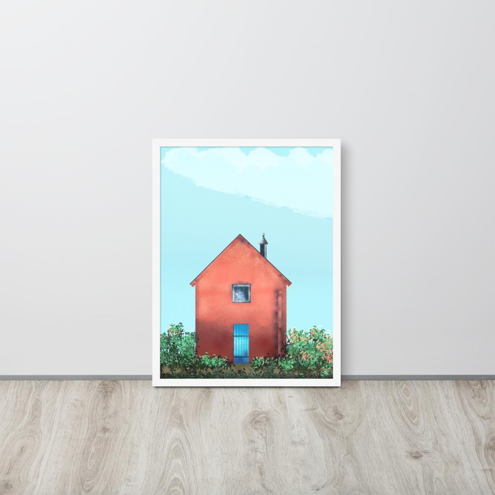 Solitary Red House Framed Poster image mockup