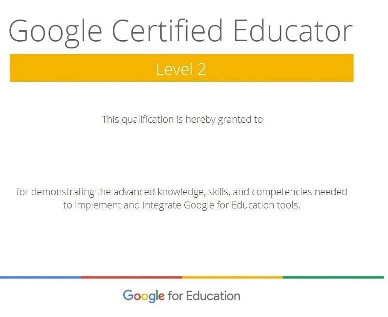 Certificado de Google Certified Educator Level 2